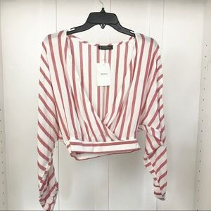 NWT Bershka red/white striped crop top